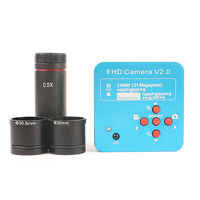 Eakins 2K 21MP HD 1080P 60FPS HDMI USB Industrial Camera TF Card Digital Video Microscope+0.5X Eyepiece Adapter 30mm/30.5m Ring