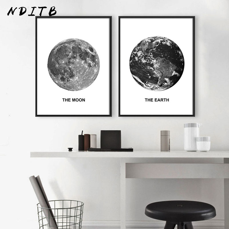 Nditb The Planet Moon Earth Canvas Art Posters And Prints Minimalist Canvas Abstract Painting Wall Picture For Living Room Decor