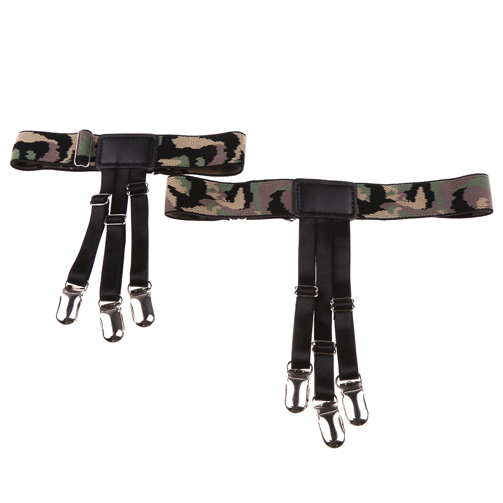 2 PCS Elastic Shirt Stays Holders For Men Military Garters Belt Clamps Camouflage Shirt Holders