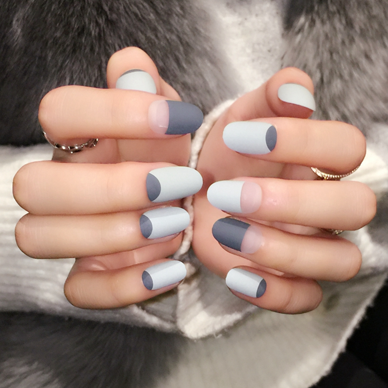 Grey Matte French Nails Round Top Frost Designed Tips Clear Moo Lady ...