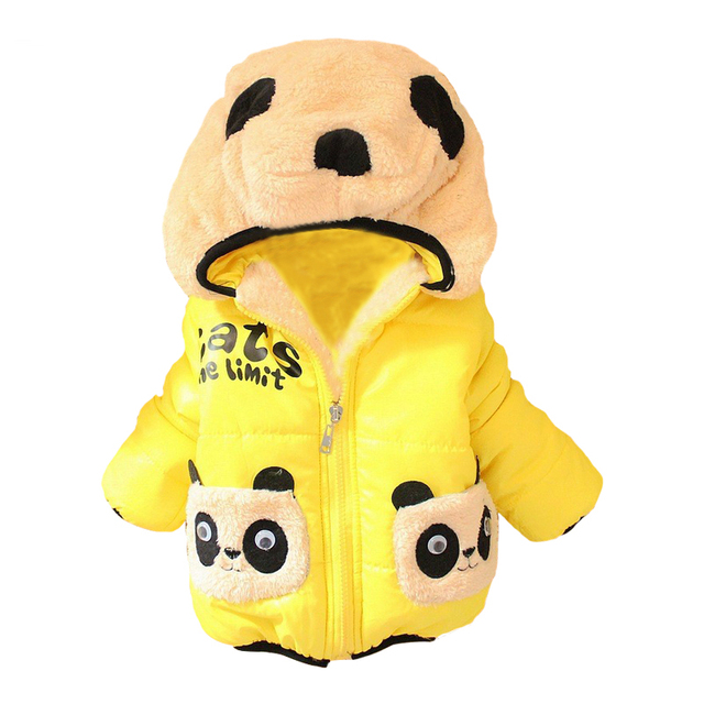Retail New 2017 children's outerwear girls hoodies jackets with thick cotton-padded clothes boy's winter panda coat free ship