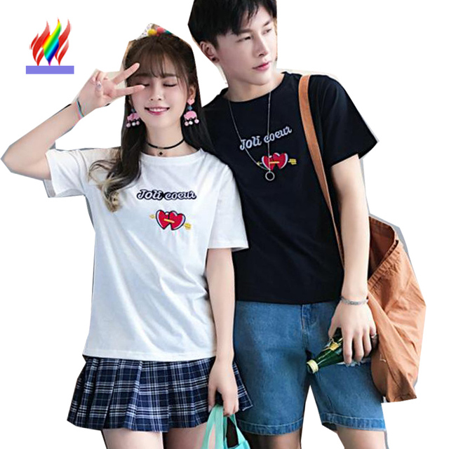 ae9a0476c770 Matching Couple Clothes Lovers Boy And Girl T-Shirt Preppy School Style  White Black Cute Cotton Tops Japan Korea Couple T Shirt