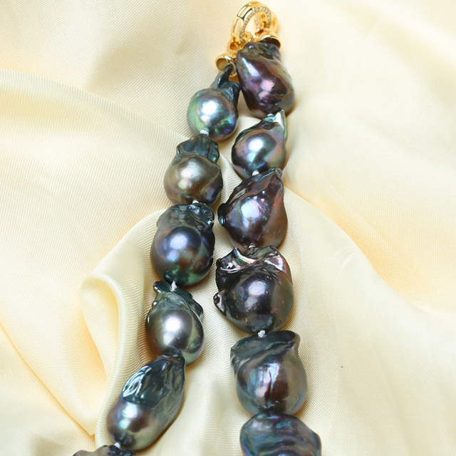 Natural Black Baroque Pearl Necklace 4