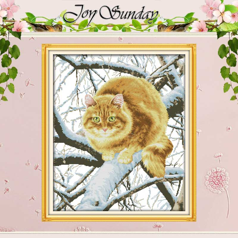 Die Fett Katze auf die Baum Gezählt Kreuz Stich Handgemachte 11CT 14CT Kreuz Stich Sets tiere Kreuz-stich Kit stickerei Hand