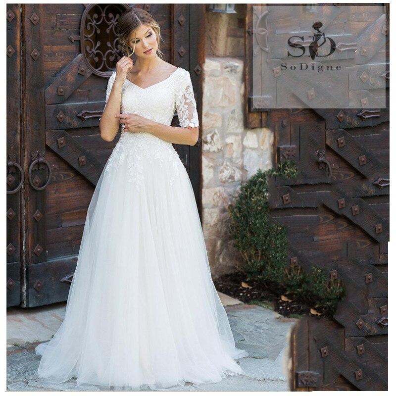 SoDigne Princess Wedding Dress 2019 Boho A Line Boho bridal gown dress Floor Length V Neck Bride Dresses