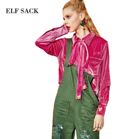 ELF SACK Women Autumn Velvet Blouses Tie Womens Bee Embroidery Plus Size Velour Female High and Low Pockets Office Soft Blouse