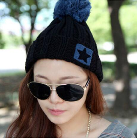 2016 New Brand Knitted Hat Wool Fashion Winter Women Caps Crochet Hats For Girls Winter Cute Casual Cap Black Warm Beanies winter women beanies pompons hats warm baggy casual crochet cap knitted hat with patch wool hat capcasquette gorros de lana