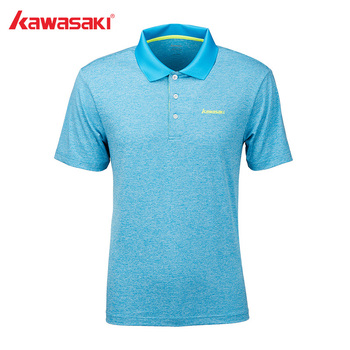 Kawasaki Badminton Shirt mężczyźni trening tenis szary oddychający t-shirt Quick Dry odzież sportowa dla mężczyzn ST-S1117 tanie i dobre opinie Krótki Skręcić w dół kołnierz Poliester Oddychające Pasuje prawda na wymiar weź swój normalny rozmiar Blue Gray Green