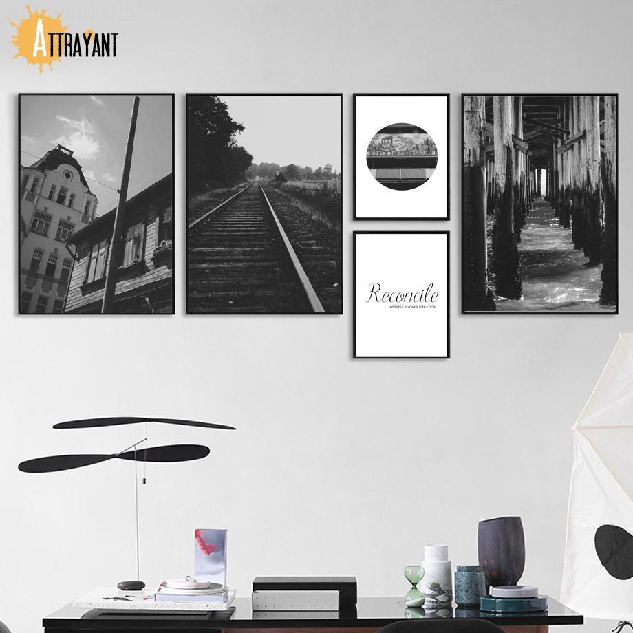 ATTRAYANT Architecture Railway Nordic Posters And Prints Wall Art Canvas Painting Wall Pictures For Living Room Decor