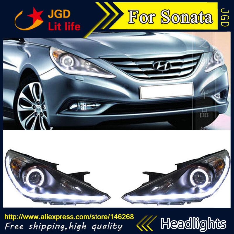 Free shipping ! Car styling LED HID Rio LED headlights Head Lamp case for Hyundai Sonata 2008-2011 Bi-Xenon Lens low beam