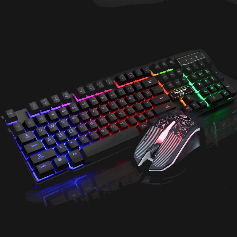 Prix pour T6 Anglais clavier souris combo Rétro-Éclairé LED gaming touche Coloré souris de jeu respiration lumière tapis de souris Un Ensemble Clavier