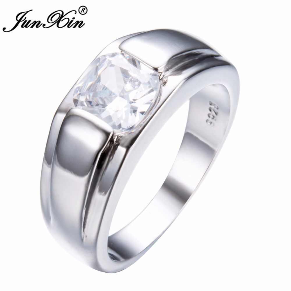 JUNXIN ゴージャスな幾何学的なデザイン男性白/青指リングファッションシルバーカラーシンプルなリング約束婚約指輪男性のための