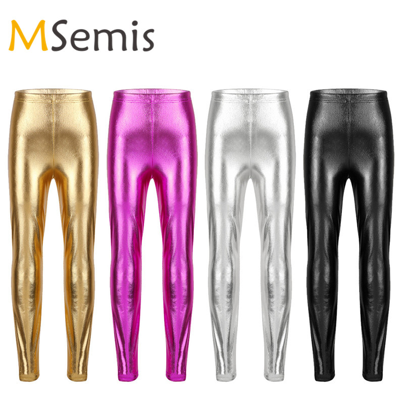 Kids Girls Dance Pants Gymnastic Swimsuit  Shiny Metallic Ballet Jazz Dance Pants Skinny Pants Leggings For Performances Costume