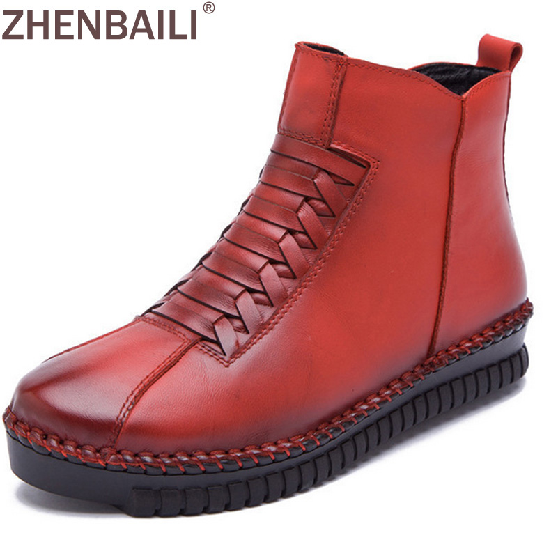 Genuine Leather Ankle Boots Thicken Warm Short Plush Winter Women Boots 2017 Spring Fashion Woven Hand Sewing Flat Shoes 2017 women warm boots genuine leather height increasing cut out flat platform short plush women ankle boots