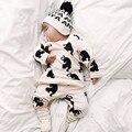 2017 Осень Новая Мода одежда для новорожденных набор мультфильм с длинными рукавами майка + брюки 2 шт. новорожденного ребенка ползунки Baby boy одежда