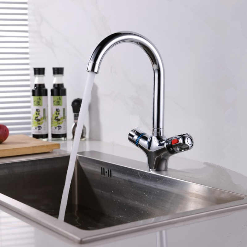The Higher Thermostatic Faucet The Kitchen Faucet Cold And Hot Water Mixer Short Nose Double Handle Chrome Finish Basin Faucet Kitchen Faucets Aliexpress