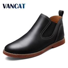 VANCAT New Fashion Mens Leather Shoes Waterproof Men Boots Comfortable Genuine Leather Boots Quality Autumn Ankle Boots For Men