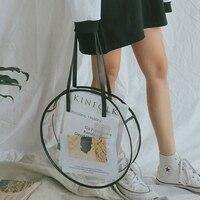 AUAU-прозрачные пластиковые сумки для девочек, летние пляжные круглые прозрачный пакет, большая женская сумка на плечо, водонепроницаемые су...