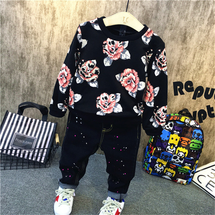 2PCS boys spring autumn clothing set kids floral printed casual hoodies and jean set baby o-neck long sleeve tops children 2-7T