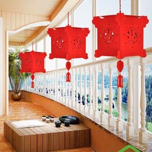 4D DIY Lanterns Wedding Decoration Non-woven Palace Lantern New Year Hanging Red Lantern Chinese Spring Festival Party Decor(China)