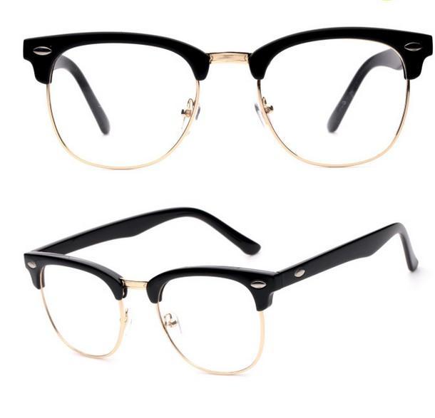 J47 Blagovni oblikovalec okvirja očal, pol polovičen kovinski okvir Fashion Vintage za ženske in moške očala