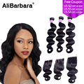 Brazilian Virgin Hair body with Closure 1pc Closure With 3 BundlesHuman Hair weave with closure Brazilian Body Wave with Closure