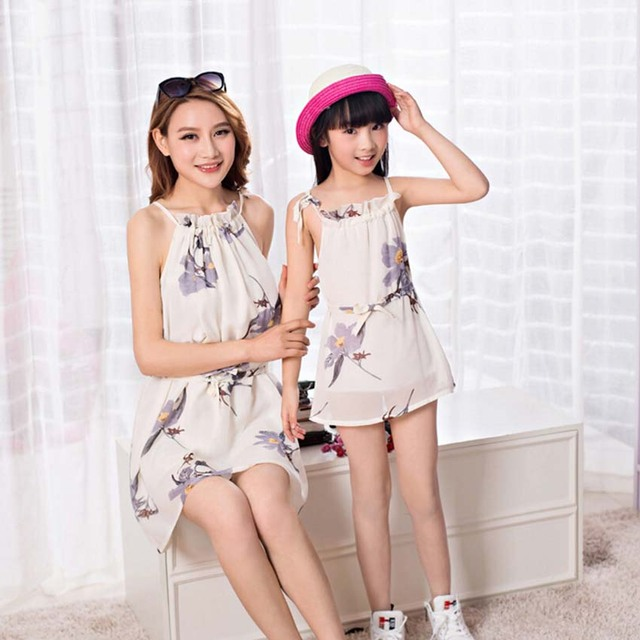New 2016 Family Matching Clothing Dresses For Girls And Mother Family Matching Mother Daughter Clothes European Girl Dress 4-8 Y