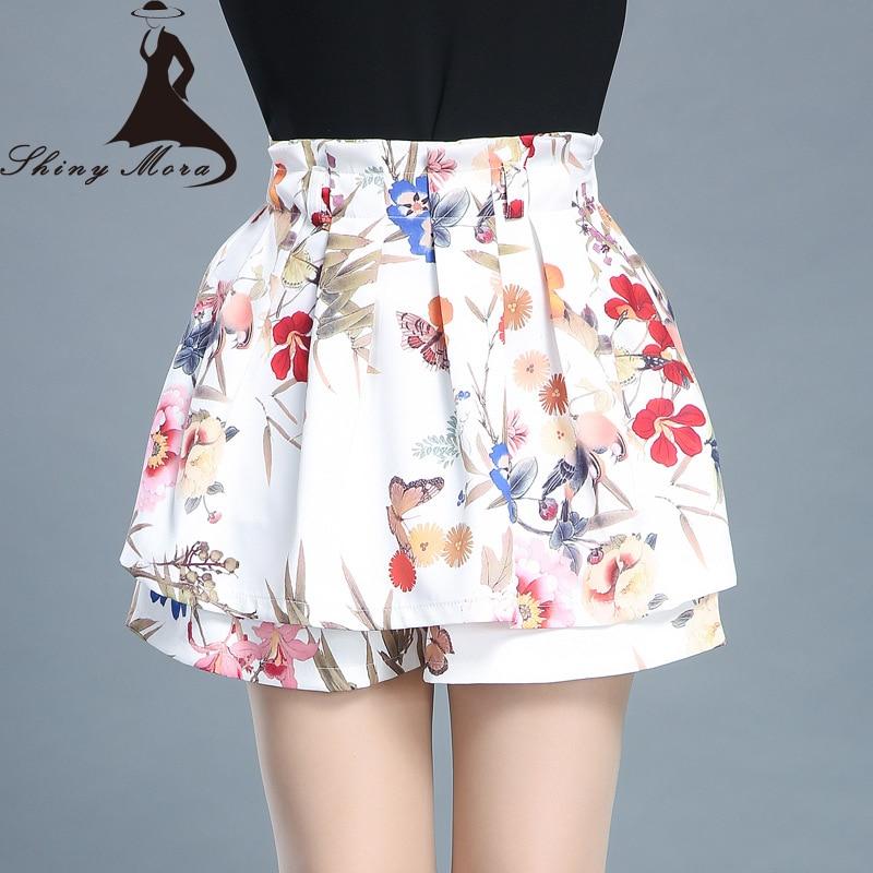 SHINYMORA 2017 Summer   Shorts   Skirts for Women High Waist European Fashion Mini Skirt Flower Female Casual Hot Bottom Girl Jupe