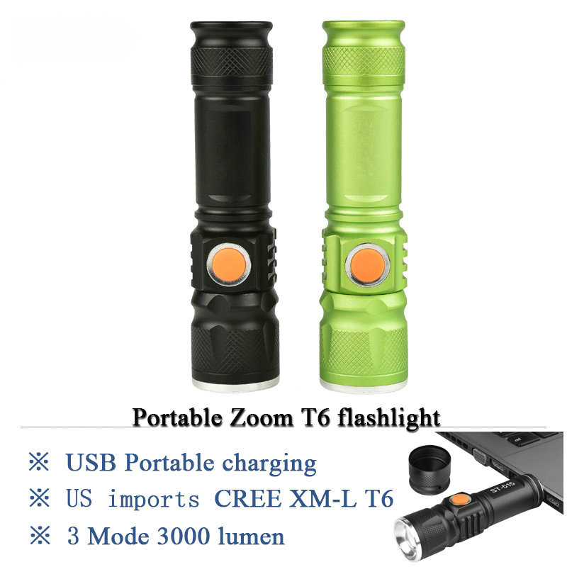 portable light USB Mini  flashlight CREE XML T6 LED torch rechargeable 18650 Built-in battery waterproof flash light 3000 lumen new rechargeable 600 lumens led flashlight torch cree xml u2 portable flash light free shipping