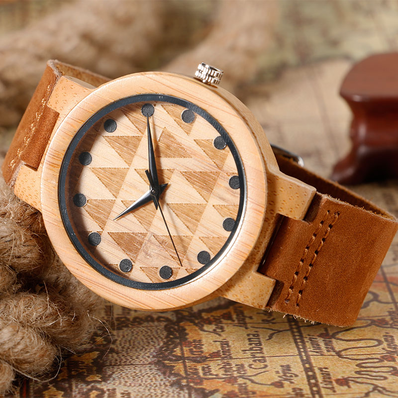 2016 Hot Nature Wood Bamboo Genuine Leather Band Strap Brief Triangle Carving Bangle Creative Women Wrist Quartz Watch Xmas Gift creative wooden bamboo wrist watch genuine leather band strap nature wood men women quartz casual sport bangle new arrival gift