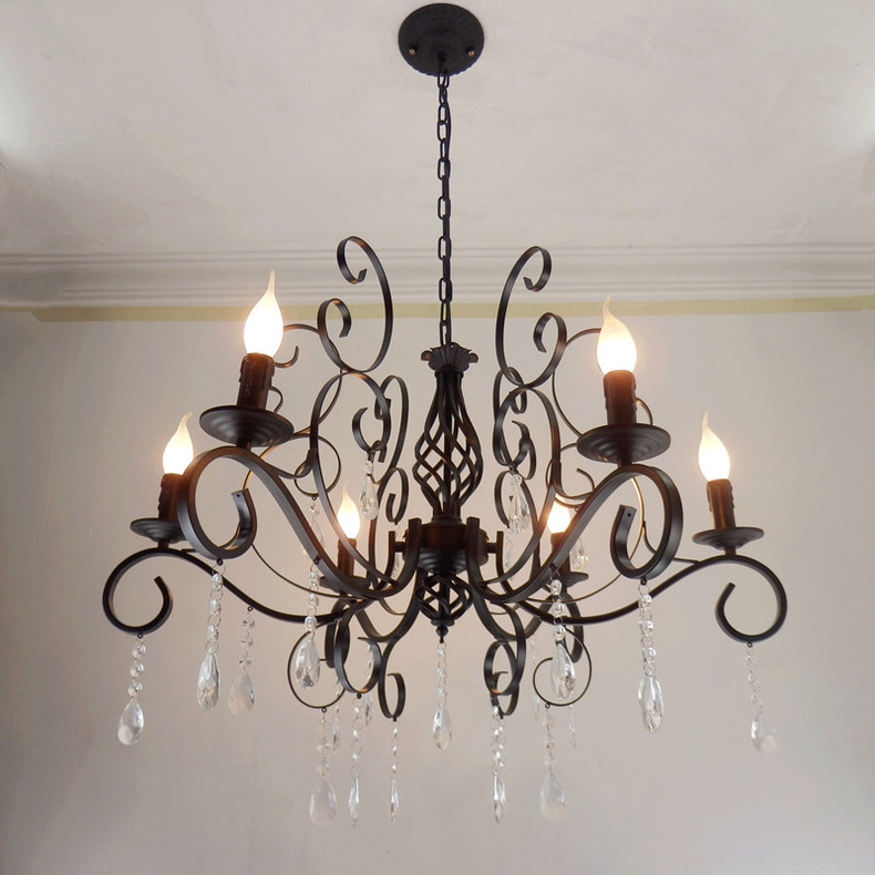 New special European and American minimalist living room wrought iron candle crystal Pendant lights lighting lamps bedroom ZA bright lights pendant lights american simple living room lights european style wrought iron lamps bedroom dining lights lu829486
