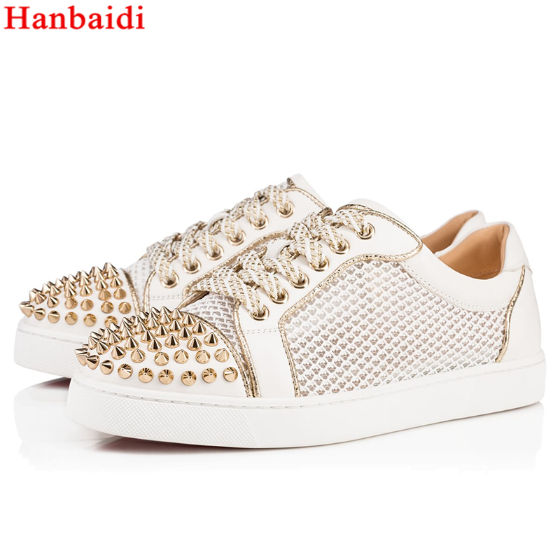 Hanbaidi Sapato Feminino Mens Lace Up Low Top Casual Shoes Luxury Brand Rivets Studed Mens Flats Runway Laether Shoes Mens 38-46