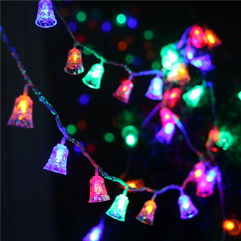 Christmas Holiday Decoration Products Led Small Lights Flashing String Bells Outdoor Waterproof Layout Birthday