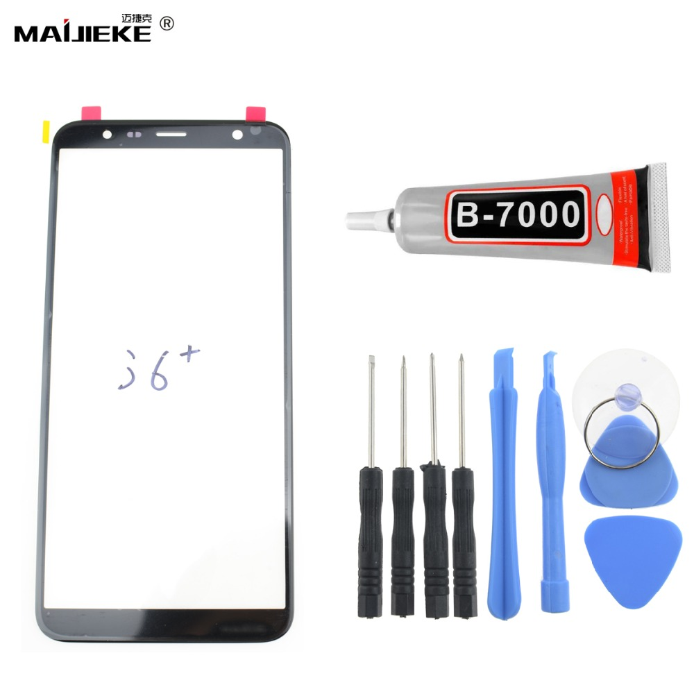MAIJIEKE Touch Screen Panel for Samsung Galaxy J6 plus J6+ Front Outer LCD Screen Glass Lens Replacement kit+9ml <font><b>B9000</b></font> <font><b>Glue</b></font> image