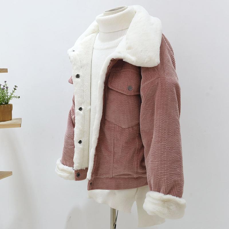 2019 nouveau épais hiver laine d'agneau vestes dames mignon manteau d'extérieur chaud Parka femme femme lâche velours côtelé veste femmes
