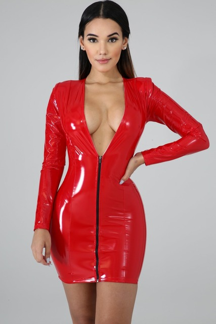 JRRY Women PU Leather Dresses Zippers Faux PU Leather Dress High Elasticity Sheath Dress Deep V Neck Faux Leather Short Dress 10