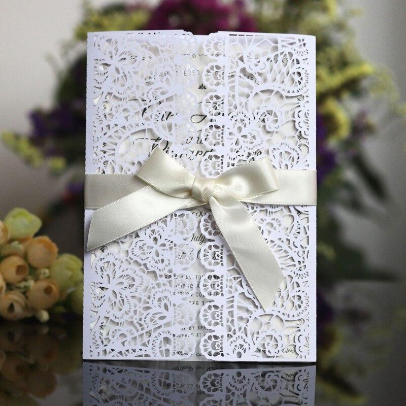1 pcs Luxury Flora เลเซอร์ตัดบัตรเชิญงานแต่งงานกระดาษริบบิ้นซองปรับแต่งงานแต่งงานตกแต่ง