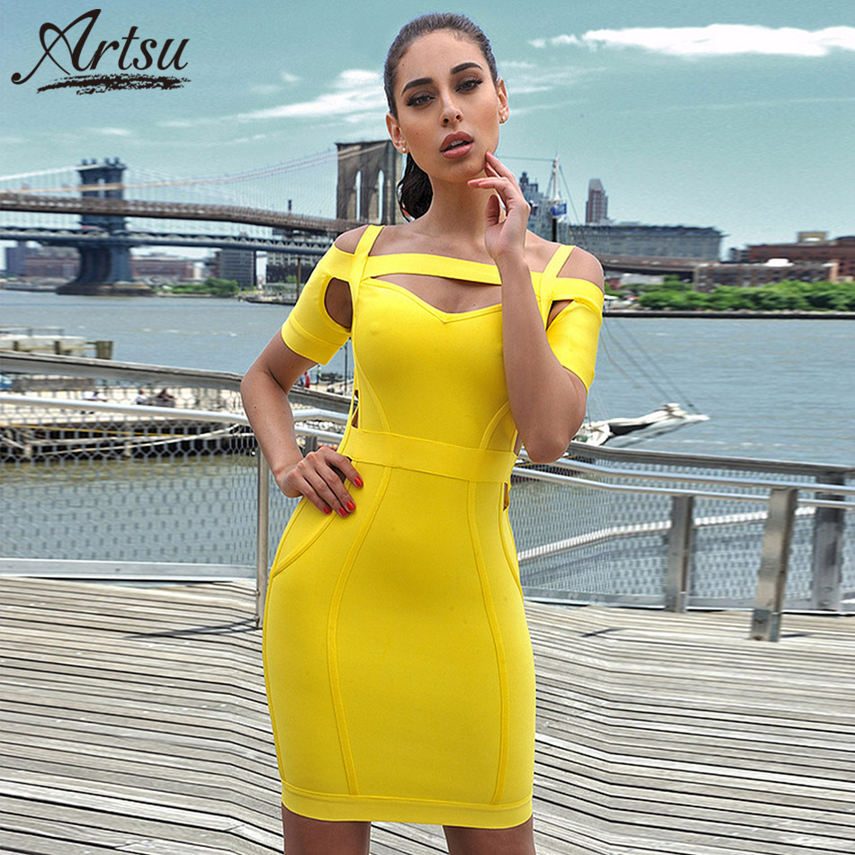 Artsu Sexy Yellow Hollow Off the Shoulder Bandage Dress Cocktail 2018 Summer Back Zipper Short Sleeve Mini Dress Vestidos Retail
