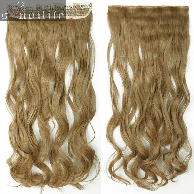 S-noilite, 18-28 дюймов, длинные волосы на заколках для наращивания, 1 шт., синтетические, настоящие натуральные волосы, 3/4, на всю голову, черный, коричневый - Цвет: #24
