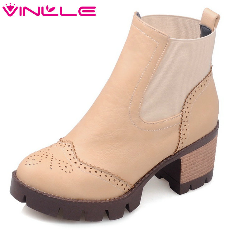 VINLLE 2018 Women Autumn Shoes Square Med Heel Ankle Boots Round Toe Western Style Ladies Motorcycle Shoes Size 34-43 vinlle women boot square low heel pu leather rivets zipper solid ankle boots western style round lady motorcycle boot size 34 43