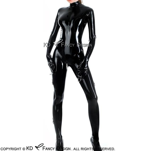cc2c929ec1 Black Sexy Latex Catsuit With Mitts D Rings Back to Crotch Zipper Rubber  Body Suit Catsuit Bodysuit Zentai Overall LTY-0096