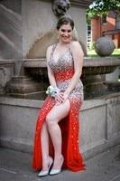Charming Split Crystal Prom Dresses New V Neck Spaghetti Straps Long Chiffon Open Back Party Night