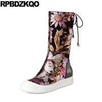Flat Mid Calf Real Leather Designer Shoes Women Luxury 2017 Boots Black Stretch Flower Printed Platform