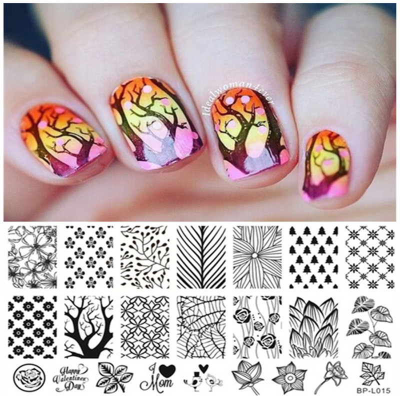 Forest Trees Leave Theme Nail Art Stamp Template Image Plate Born