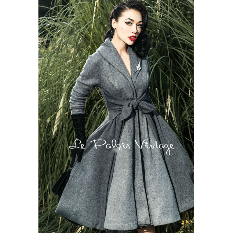 2015 Le Palais Vintage Elegant Retro Grey Stitching Waist Big Pendulum All Match Long Coat High