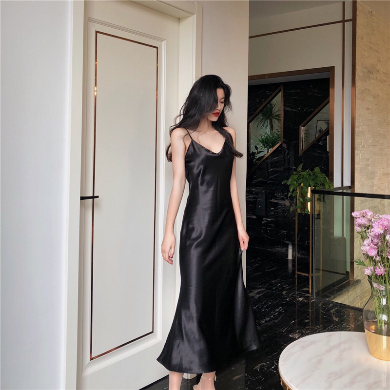 Summer Long   Nightgowns     Sleepshirts   Satin Sleepwear Chemise Sleep Lounge Night Silk Dress Elegant Sexy Ladies Nightwear Plus Size