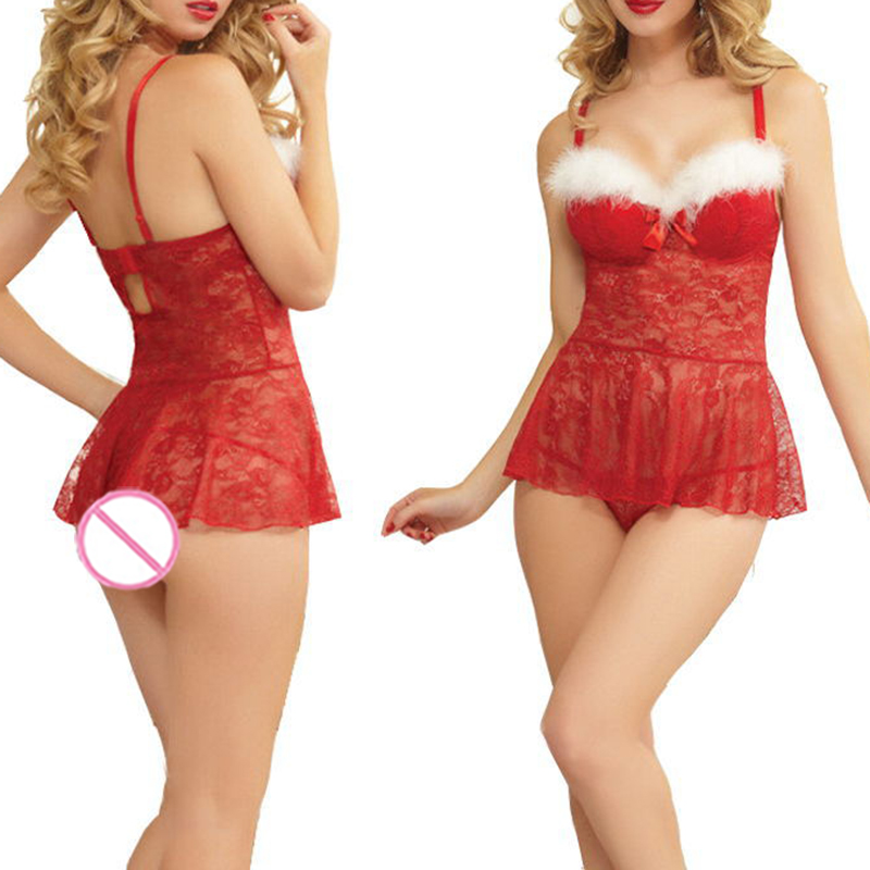 2017 valentine's day sexy lingerie women Christmas Dary Sexy Serving Role Playing Santa Suit Womens erotic Lingerie Uniform
