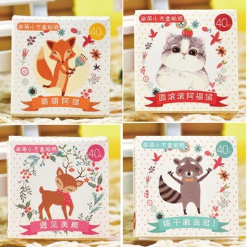 40PCsPack Kawaii Cute Naughty Fox Raccoon Chunky Cat Forest Deer Snowman Diary Label Decorative Scrapbooking DIY Stickers H0062 birthday cake