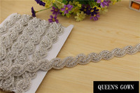 New Style Rhinestone Chain Decorative Rhinestone Fabric Trim Rhinestone Trim For Wedding Dress