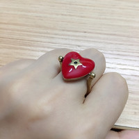 Famous brand jewelry five pointed star lock ring vintage enamel red heart love amour ring fashion women girls party jewelry